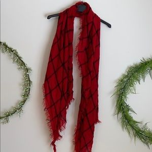 Oversized red and black windowpane plaid scarf